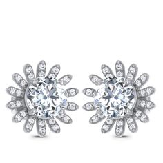 Floral Solitaire Earring Diamond Solitaire Earrings, Jewels, Engagement Rings, Floral, Enagement Rings, Wedding Rings, Jewerly, Flowers, Diamond Engagement Rings