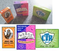 """Made these for my Primary class-- they get to choose ONE. :) Keep the Command-mints (Orange Tic Tacs); Never End Your Day Scriptureless (Nerds); Chews the Right Gum (Watermelon Extra). I simply printed the front """"label"""" and glued it to the original package."""