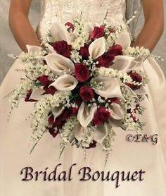 Burgundy and white bouquet BEAUTIFUL ANNA BELLE BURGUNDY Wedding Bouquets Bouquet Bridal ... www.ebay.co.uk