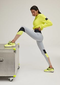 E Nation range of womens leggings, gym leggings & yoga tights. Shop online and join the Nation! Sports Leggings, Women's Leggings, Yellow Tights, Long Sleeve And Shorts, Gym Tops, Yoga, Neon Yellow, Workout Wear, Sport