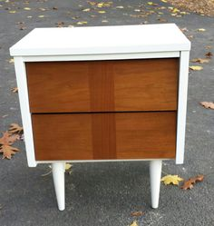 Mid Century 1960's Night Stand Danish Style Upcycled Solid Wood and White High Gloss Paint on Etsy, $198.00