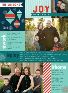 Joyful Blocks TEMPLATE: 114920 By Kari Pieratt 8.5 x 11.5 Tri-fold Brochures Bright ornaments and playful stripes create a modern Christmas greeting where you can share several photos and annual highlights with family and friends.