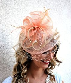 Fascinator Womens Tea Party Hat Hat with Veil by QueenSugarBee