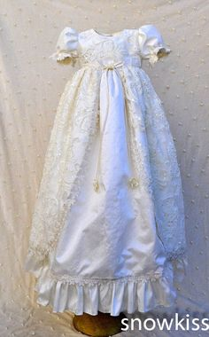 116.99$  Watch here - http://ali1to.worldwells.pw/go.php?t=32431292948 - Sparkly Lace Pearls Baby Girl White/Ivory First Communion Dresses Christening Gown Baptism Dress
