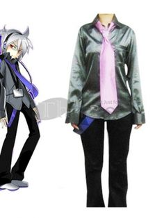 Vocaloid fans are going to recognize this dapper costume as belonging to their beloved character Dell Honne . It features a fashionable silky shirt with long sleeves, front pocket and button down front. Cool black trousers are worn underneath and are embellished with a blue sash. A pastel pink tie completes the costume and is included.