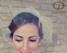 COSETTE birdcage veil with 3 layer bow russian by ParisienneLuxe