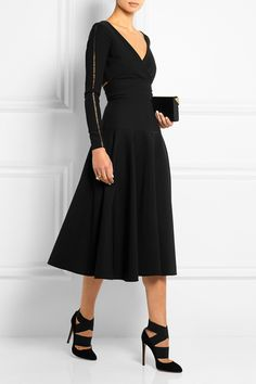 Preen by Thornton Bregazzi | Martina pointelle-trimmed stretch-crepe dress | NET-A-PORTER.COM