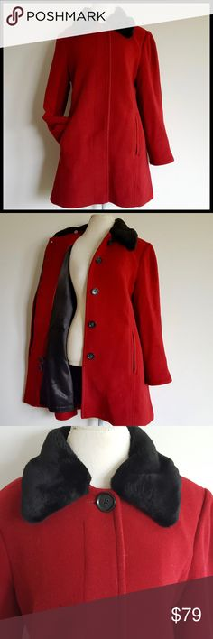 Jones NY Wool Blend Red Coat Black Faux Fur Collar Jones NY Wool Blend Red Coat Black Faux Fur Collar Details coming soon! Jones New York Jackets & Coats