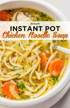 Instant Pot Chicken Noodle Soup - - Instant Pot Chicken Noodle Soup Liquid Dinner Get ready for a healthy spin on an American classic. This savory Instant Pot chicken noodle soup is packed with nutrients and flavor. Crock Pot Recipes, Chicken Recipes, Cooking Recipes, Healthy Recipes, Healthy Chicken, Creamy Chicken, Pesto Chicken, Cooking Games, Recipe Chicken