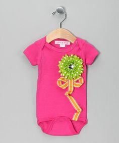 Take a look at this Hot Pink & Lime Flower Bodysuit - Infant by Little Diva on #zulily today!