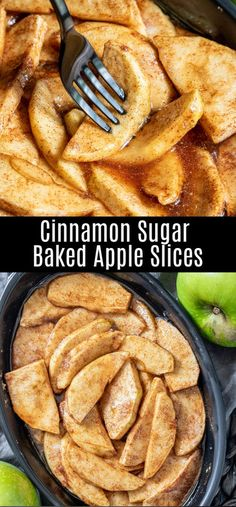 This easy recipe for baked apple slices adds a little cinnamon and sugar to green apples for the perfect fall dessert! Cinnamon and sugar apple slices are baked in the oven until they are bubbling and Mini Desserts, Best Apple Desserts, Baked Apple Dessert, Apple Recipes Easy, Apple Dessert Recipes, Easy Desserts, Delicious Desserts, Yummy Food, Recipe With Apple
