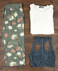 sweater + sweatpants + lace bralette + travel + packing light + capsule wardrobe + flat lay + fall fashion + style