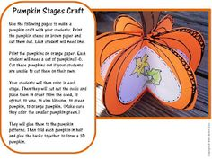 Fall Life Cycle of a Pumpkin Craft for Fall Activities as seen on Kindergarten Klub    www.kindergartenklub.com
