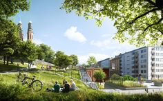Gallery of Utopia Arkitekter Designs Apartment Block with Rooftop Park for Stockholm - 3