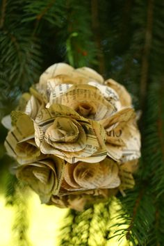 Large upcycled paper ornament Vintage book page by Papyrusaurus