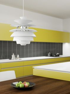 Snowball light by Poul Henningsen for Louis Poulsen. His designs have stood the test of time. A medium to large light that would be well suited to a Modern kitchen.  #DanKitchensAus #LouisPoulsen #PoulHenningsen
