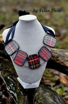 #колье со вставкой ткани шотландки от #byirinaneilo