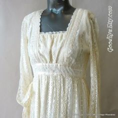 Vintage Lace Maxi Dress HIPPIE WEDDING size small...