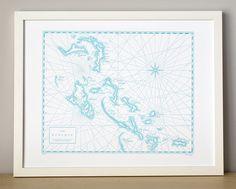 Bahamas letterpress map