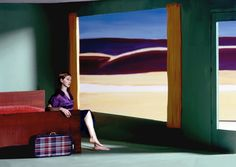 French photographer couple Clark et Pougnaud shot this stunning tribute to Edward Hopper… Antonio Dias, Edward Hopper Paintings, Artsy Photos, Artists And Models, Mysterious Places, Paris Art, French Photographers, Photography Contests, Equine Art