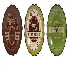 IMAX Bottle Cap Ceramic Clock (Set of 3) - 19114-3