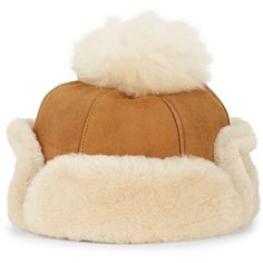 733c071ec0d UGG Dyed Shearling-Trimmed Leather Hat ( 175) ❤ liked on Polyvore featuring  accessories