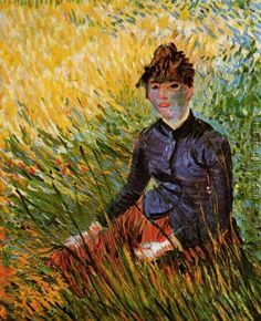 Woman Sitting in the Grass Vincent Van Gogh Reproduction | 1st Art Gallery