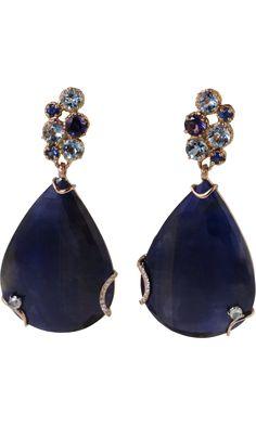 Federica Rettore Velvet Blue Sapphire & Diamond Drop Earrings discovered on Fantasy Shopper Diamond Drop Earrings, Sapphire Earrings, Sapphire Diamond, Blue Sapphire, Jewelry Box, Jewelry Accessories, Fine Jewelry, Jewelry Design, Gold Jewelry