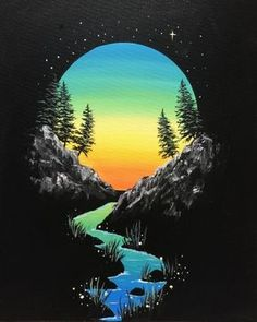 Join us for a Paint Nite event Sat Aug 2018 at 13603 St Albert Trail St. Alb… Join us for a Paint Nite event Sat Aug 2018 at 13603 St Albert Trail St. Purchase your tickets online to reserve a fun night out! Black Canvas Paintings, Easy Canvas Painting, Simple Acrylic Paintings, Diy Canvas Art, Painting On Black Canvas, Black Background Painting, Bob Ross Paintings, Art Paintings, Painting Art