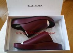 Balenciaga-Pads-Burgundy-Leather-Low-Wedge-Sandals-Size-38-5-BNWB