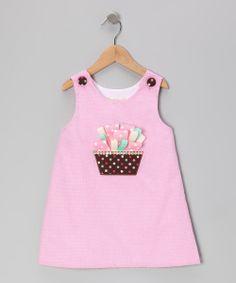 Pink Gingham Ribbon Cupcake A-Line Dress - Toddler & Girls