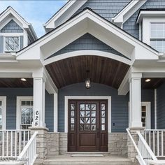45 Best House Exterior Design Ideas That Have Nuances Of Navy Blue - House Living Design Exterior, Grey Exterior, Modern Farmhouse Exterior, House Siding, House Paint Exterior, Exterior House Colors, Blue House Exteriors, Exterior Paint Colors For House With Stone, Craftsman Exterior Colors