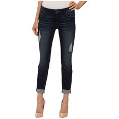 KUT from the Kloth Catherine Slouchy Boyfriend Jeans in Luxury/Euro... ($94) ❤ liked on Polyvore featuring jeans, destructed boyfriend jeans, relaxed boyfriend jeans, cuffed boyfriend jeans, distressed jeans and white ripped boyfriend jeans