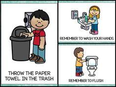 Bathroom Posters {Free Printable} - Everything About Kindergarten Bathroom Procedures, Classroom Procedures, Classroom Rules, Classroom Posters, Preschool Classroom, Classroom Organization, Teacher Posters, Kindergarten Procedures, Classroom Management