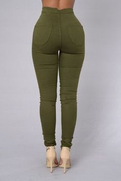 Super High Waist Denim Skinnies - Olive Stylish Jeans bfabd03c3a5