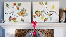 DIY paper bird painting on canvas
