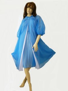 Vtg ARTEMIS Royal Blue PEIGNOIR and NIGHTGOWN by HollySoLightly, $229.00