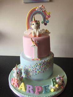 Pastel unicorn cake - cake by Donnajanecakes Unicorne Cake, Cupcake Cakes, Cake Fondant, Tier Cake, Cake Table, Pastell Party, Baby Girl Birthday Cake, Unicorn Birthday Cakes, 1st Birthday Cake Designs
