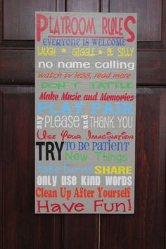 Playroom Rules Typography Sign.