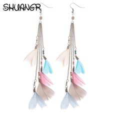 SHUANGR Fashion Female Brincos Bohemian Colorful Long Earrings Feather banquet Party Big Earrings For Women Fine Jewelry Gifts-in Drop Earrings from Jewelry & Accessories on Aliexpress.com | Alibaba Group
