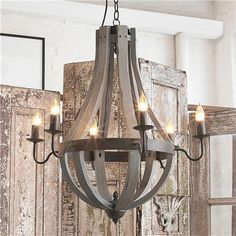 Dining.  Go big!  It's a big room!  Wooden Wine Barrel Stave Chandelier