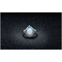 White Fire Opal and Aquamarine Ring ($17) ❤ liked on Polyvore featuring jewelry, rings, jewelry & watches, white jewelry, 18k ring, unisex jewelry, white fire opal ring and oval cut ring