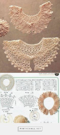 Crochet collars A and B, with their respective charts