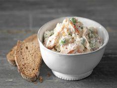 Riisi-lohisalaatti | Valio Scandinavian Food, Rye Bread, Salmon Salad, Potato Salad, Mashed Potatoes, Food And Drink, Easy Meals, Snacks, Baking