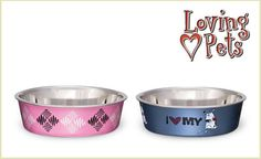 """A Bella Bowl is an ideal dog dish. This adorable bowl is veterinarian recommended and features a stainless-steel interior that's bacteria-resistant. It also has an attractive poly-resin exterior and a removable rubber base, which prevents spills, eliminates noise, and makes Bella Bowls fully dishwasher safe. These bowls are perfect for any pup and come in an array of sizes. Choose from argyle pink or """"I love my dog"""" in steel blue. Both bowls come in sizes small, medium, and large. $11"""