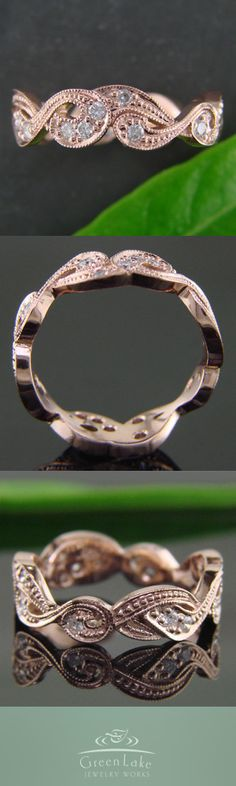 Vintage rose gold band with milgrained organic details featuring bead-set diamonds