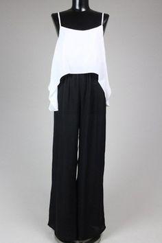 Vanessa Ruffle Jumpsuit - Black/White