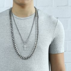 This cross pendant necklace made of high quality stainless steel,super cool double chain design!#punk jewelry