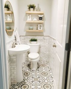 36 New Ideas For Small Bathroom Storage Modern Powder Rooms Powder Room Small, Affordable Tile, Modern Powder Rooms, Small Bathroom, Bathroom Interior, Bathroom Decor, Bathrooms Remodel, Small Half Bathrooms, Room Design