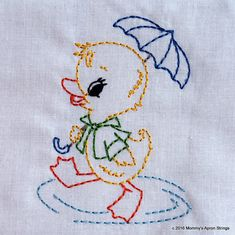 SALE Vintage Duck with Umbrella Machine Embroidery Design 2 sizes, 4x4 or 5x7 colorwork linework, INSTANT DOWNLOAD. girl, toddler,…